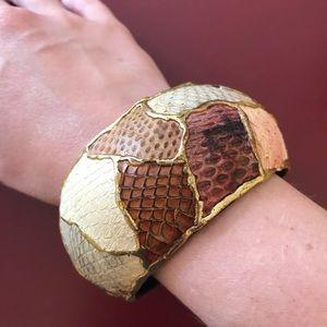 Vintage snakeskin embossed wooden bangle